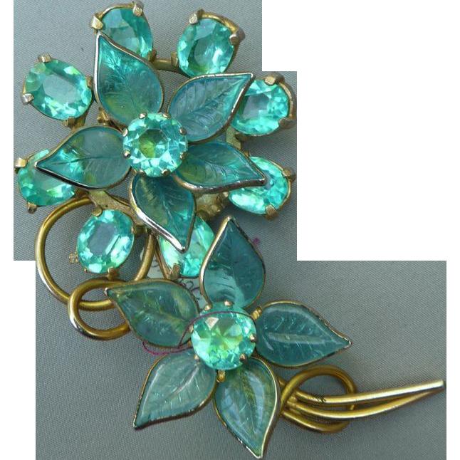 Exceptional Aqua Glass Flower Pin