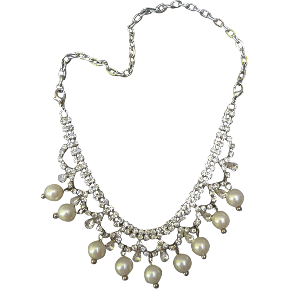 Vintage Faux Pearl and crystal Necklace/ Bracelet
