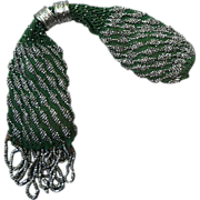 Dark Green/ Cut Steel Beaded Georgian Stocking Purse