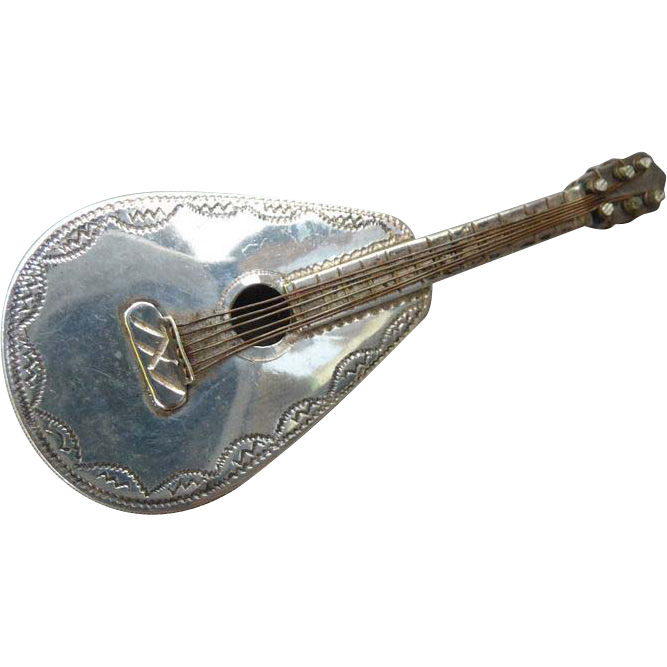 Vintage Mexican Sterling Mexican Mandolin Pin