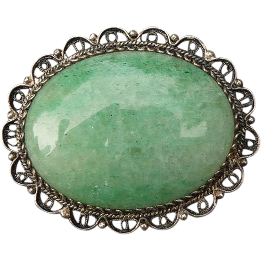 Lovely Vintage Sterling Natural Stone Pin