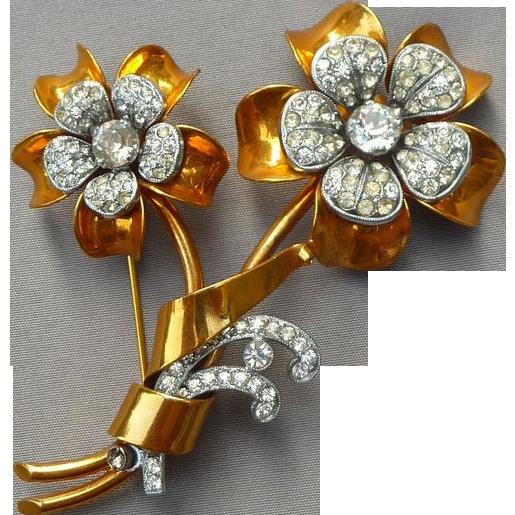 Beautiful Vintage Czech Flower Pin