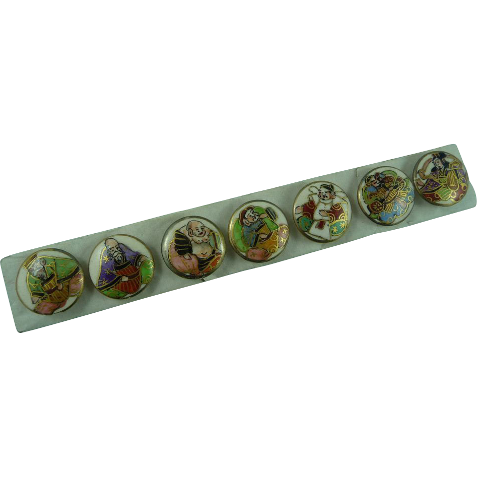 Japanese Satsuma Buttons of The Seven Gods of Good Fortune