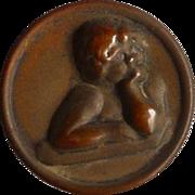 Vintage Brass Cupid Button