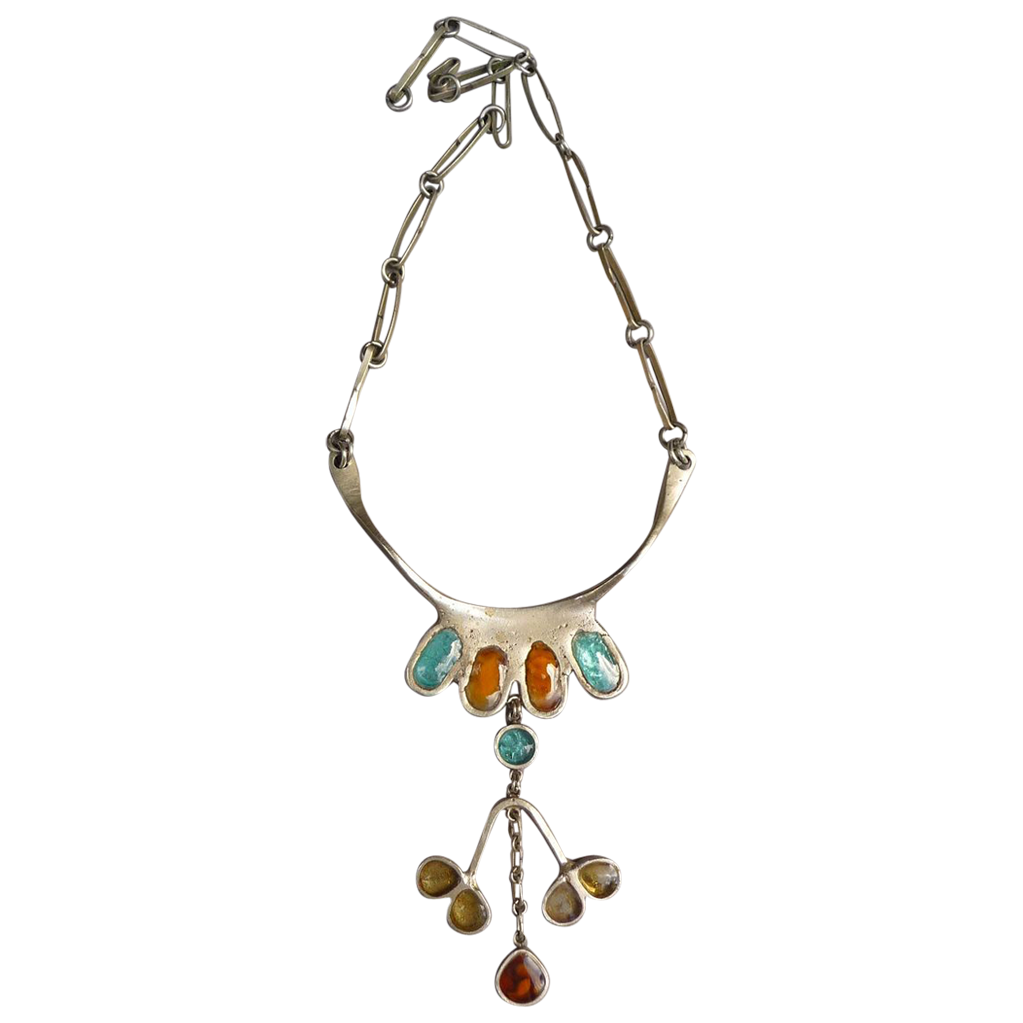 Exquisite French Metal and Glass Vintage Necklace