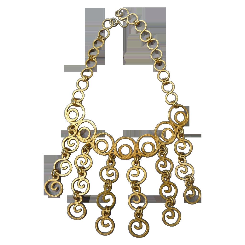 Unique Vintage Greek Gold Toned Necklace