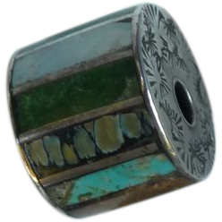 Vintage Engraved Silver Turquoise Bead
