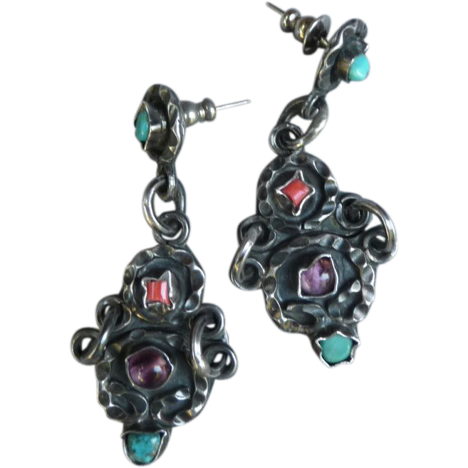 Matl Style Sterling Mexican Earrings