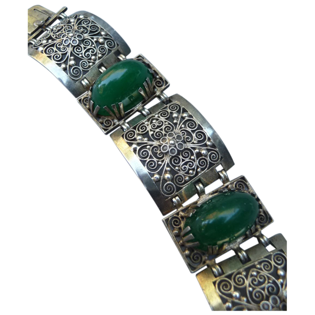 Exceptional French Silver and Chrysophase Bracelet