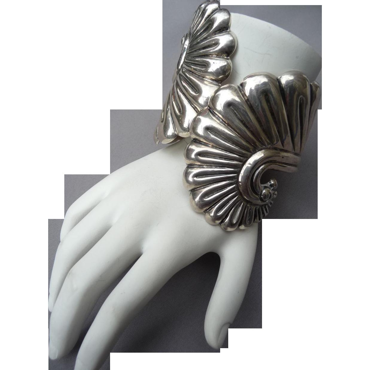 Vintage Sterling Silver Mexican Clamper Bracelet