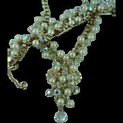 Juliana necklace and bracelet Pearl and Rhinestone set