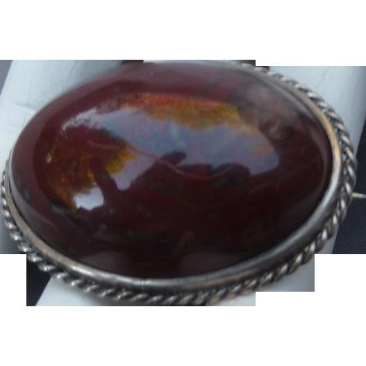 Antique Jasper Agate Silver Pin
