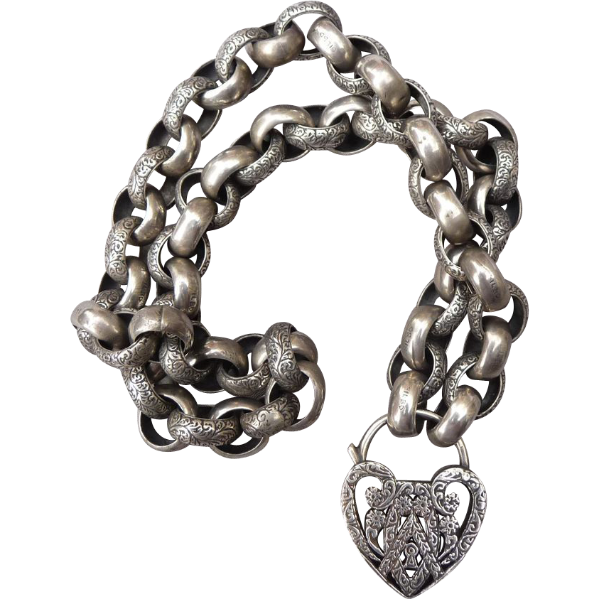 Victorian Large Belcher Chain and Heart Necklace