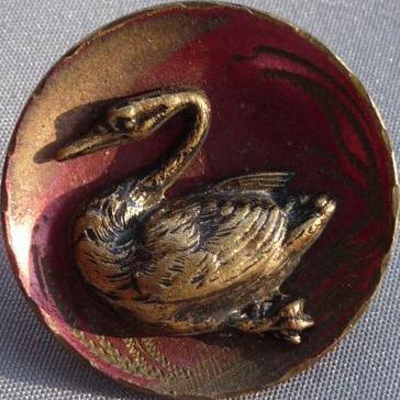 Wonderful Vintage Brass Swan Button