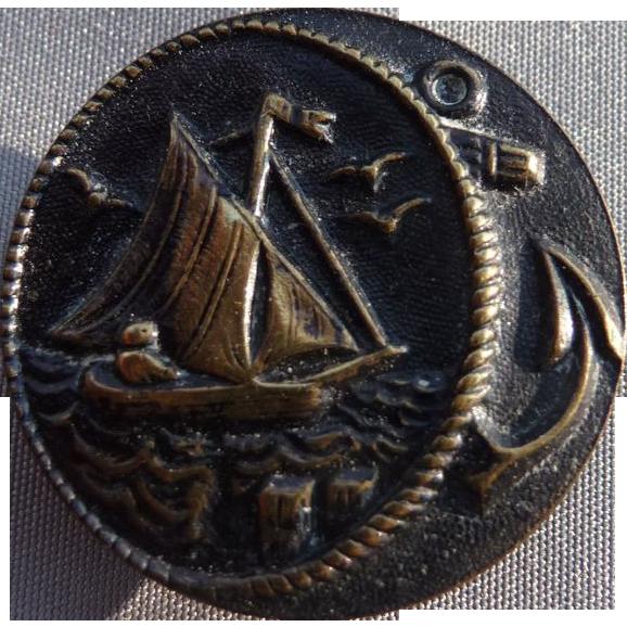 Vintage brass Sailboat Button