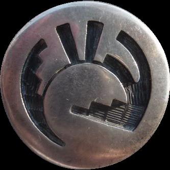 Vintage Sterling Southwest Button