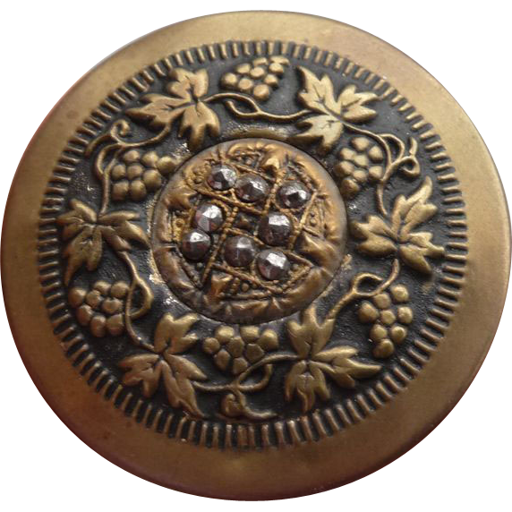 Beautiful Large Vintage Brass and cut Steel Button