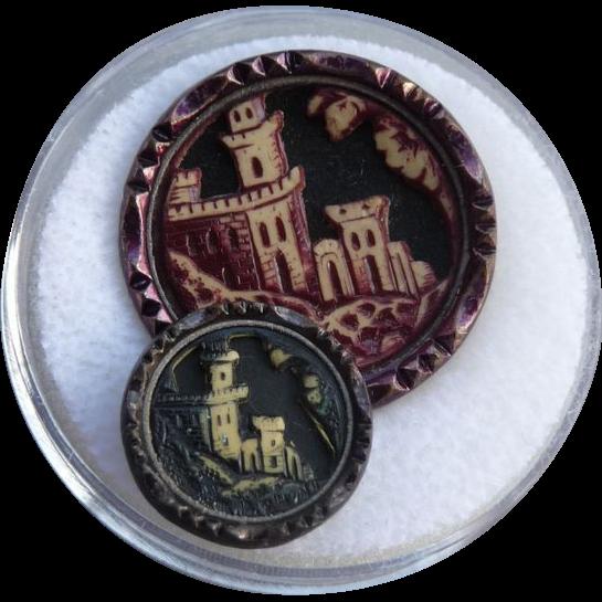 Two Vintage Celluloid Castle Buttons