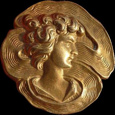 Vintage Art Nouveau Button of Lady's Profile
