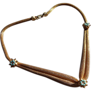Delicate Vintage Gold toned Mesh Necklace