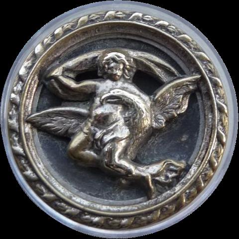 Large Majestic Vintage Angel Button