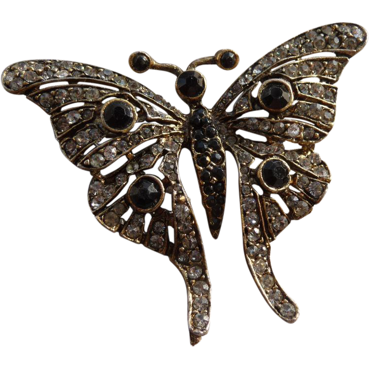 Vintage Rhinestone Butterfly Pin