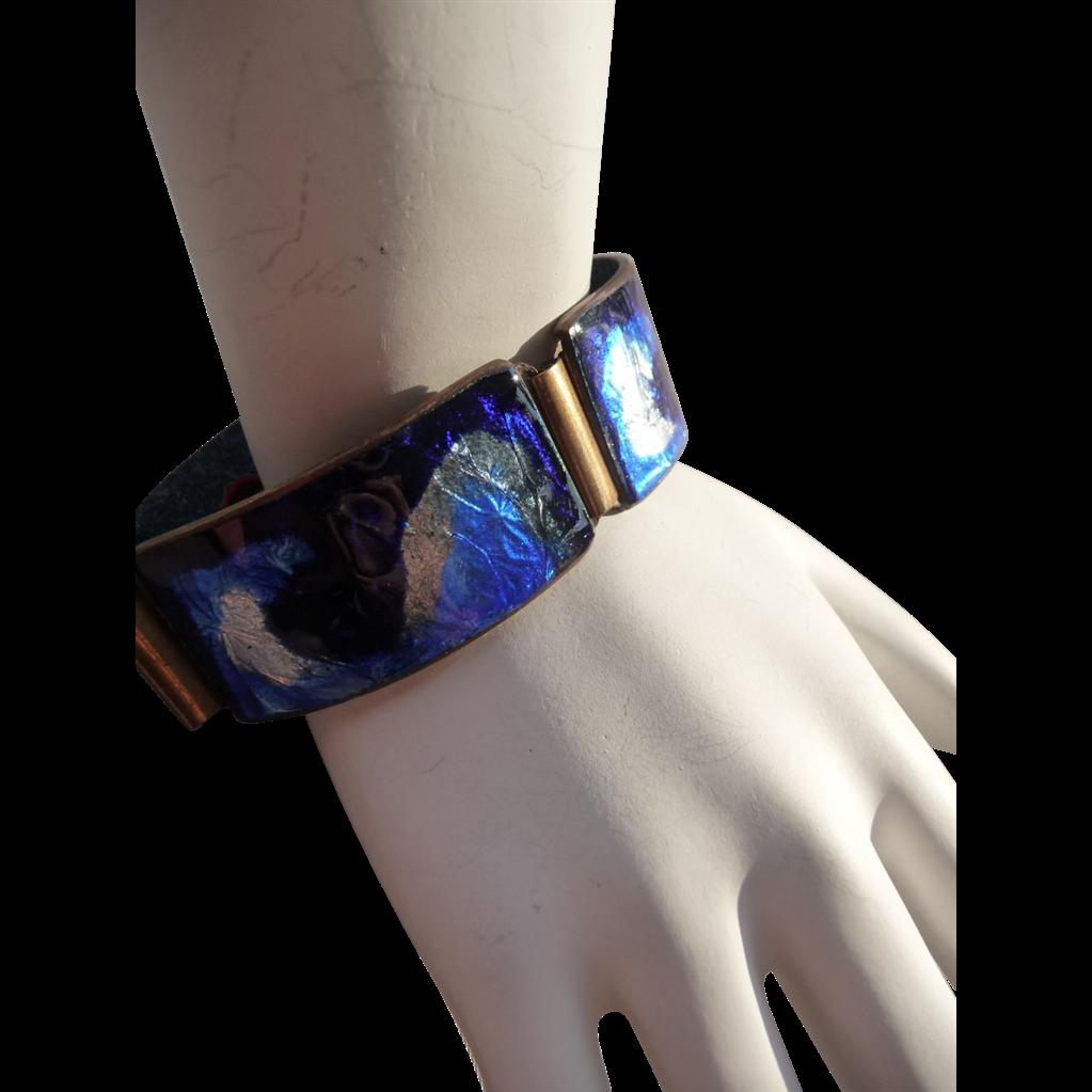 Exceptional Vintage Foil Enamel German Bracelet