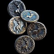 Five Vintage Deer Buttons