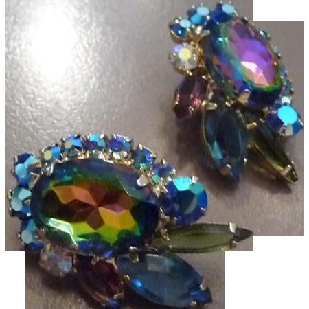 Beautiful Vintage Juliana Watermelon Rhinestone Earrings