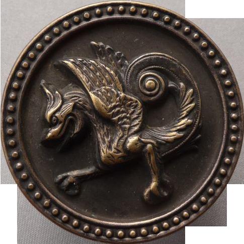 Fabulous Large Vintage Griffin Button