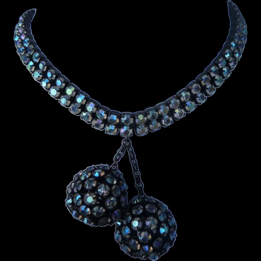 Beautiful Vintage Japanned Rhinestone Necklace