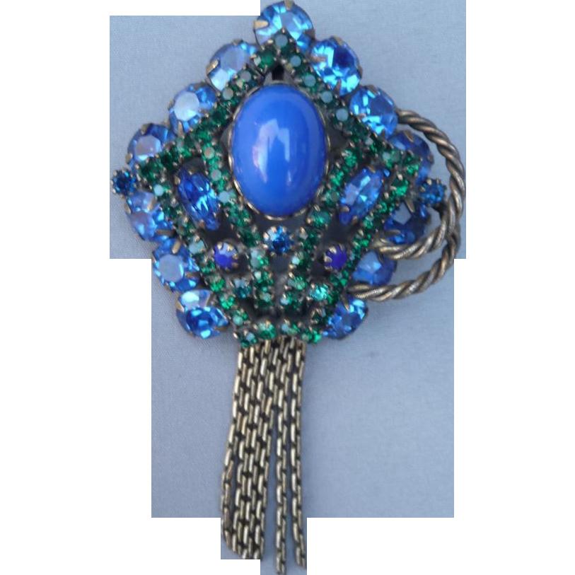 Vintage Blue Crystal pin/pendant