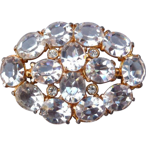 Gorgeous Clear Crystal Vintage Pin
