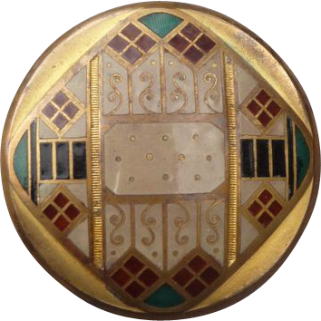 Exceptional Large Art Deco Enamel Button