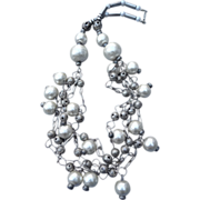 Incredible 1960's silver and Sugar Bead Necklace