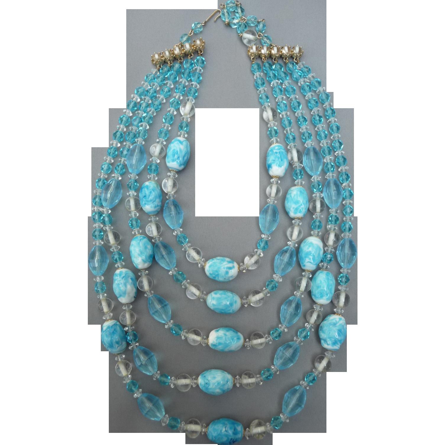Dramatic Kramer Aqua Crystal Necklace