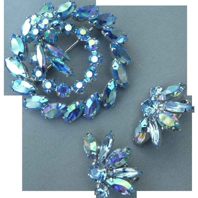 Beautiful Sherman Blue Pin and Earrings