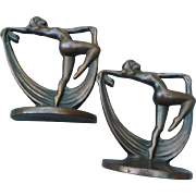 Vintage Art Nouveau Metal Bookends