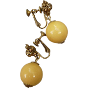 Signed Vintage Miriam Haskell Bakelite Earrings