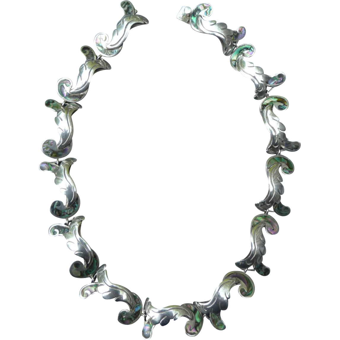 Lovely Early Vintage Sterling Silver and Abalone Mexican Necklace