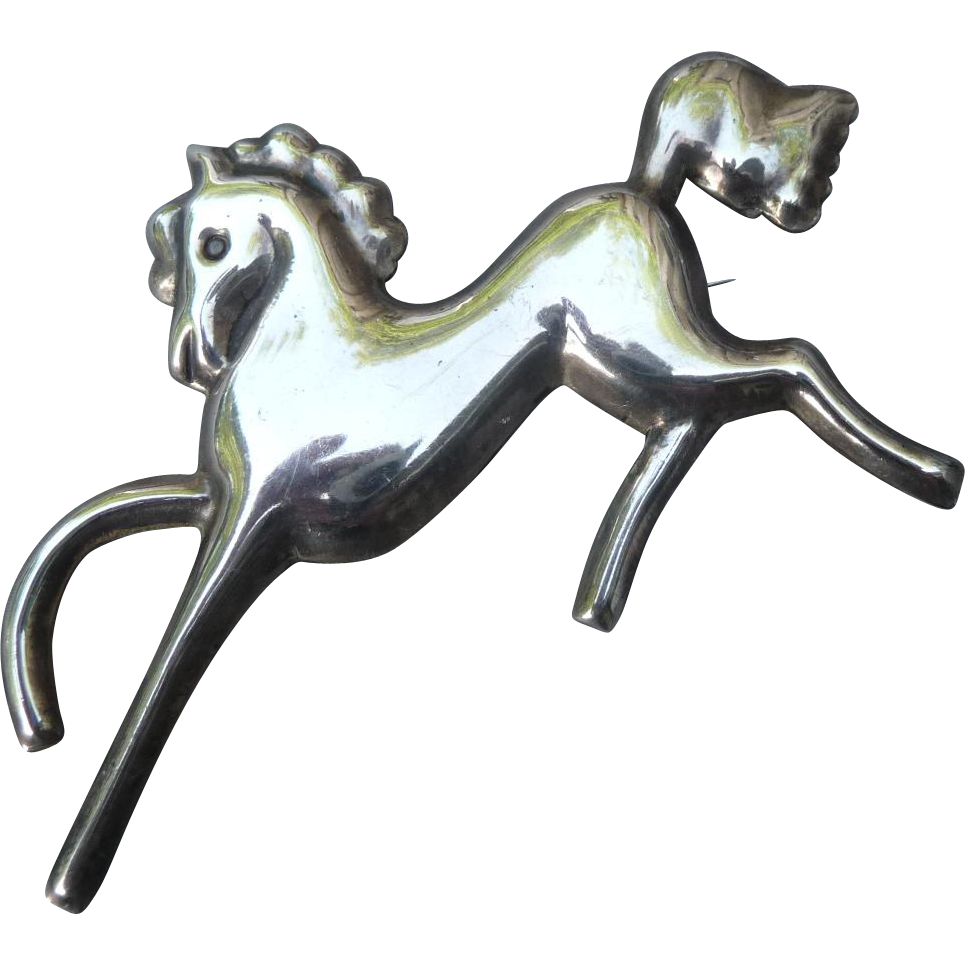 Graceful Vintage Silver Mexican Horse Pin