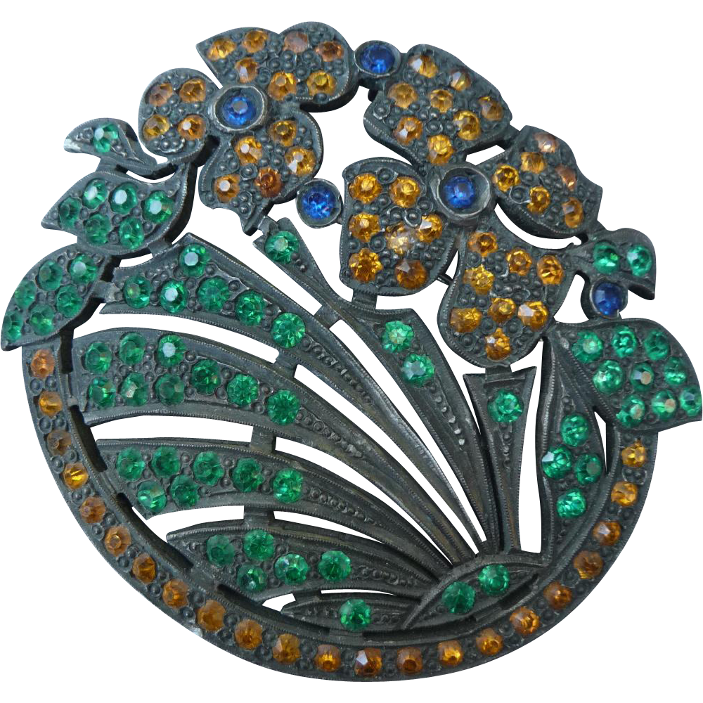 Gorgeous Large Vintage 1920's Flower Pin