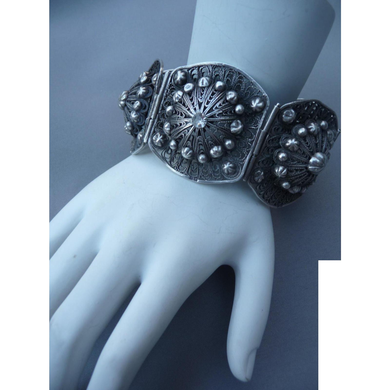 Ornate Etruscan Revival Silver Bracelet