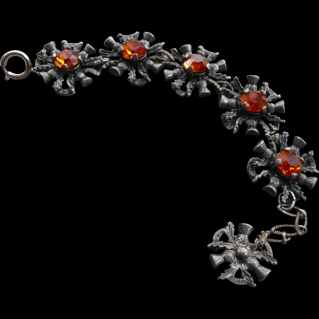 Ornate Vintage Pewter Thistle Bracelet