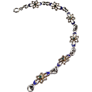 Dainty Vintage Silver and Enamel Bracelet