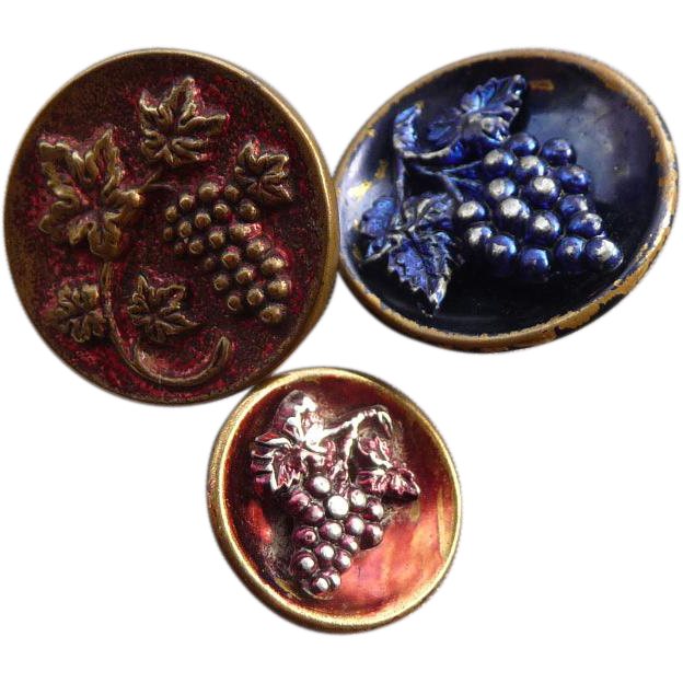 Three Vintage Grape Buttons