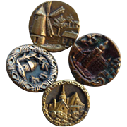 Four Vintage Brass Buttons with Buildings