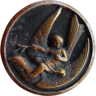 Vintage Brass Button Of Cherub Riding A Swallow