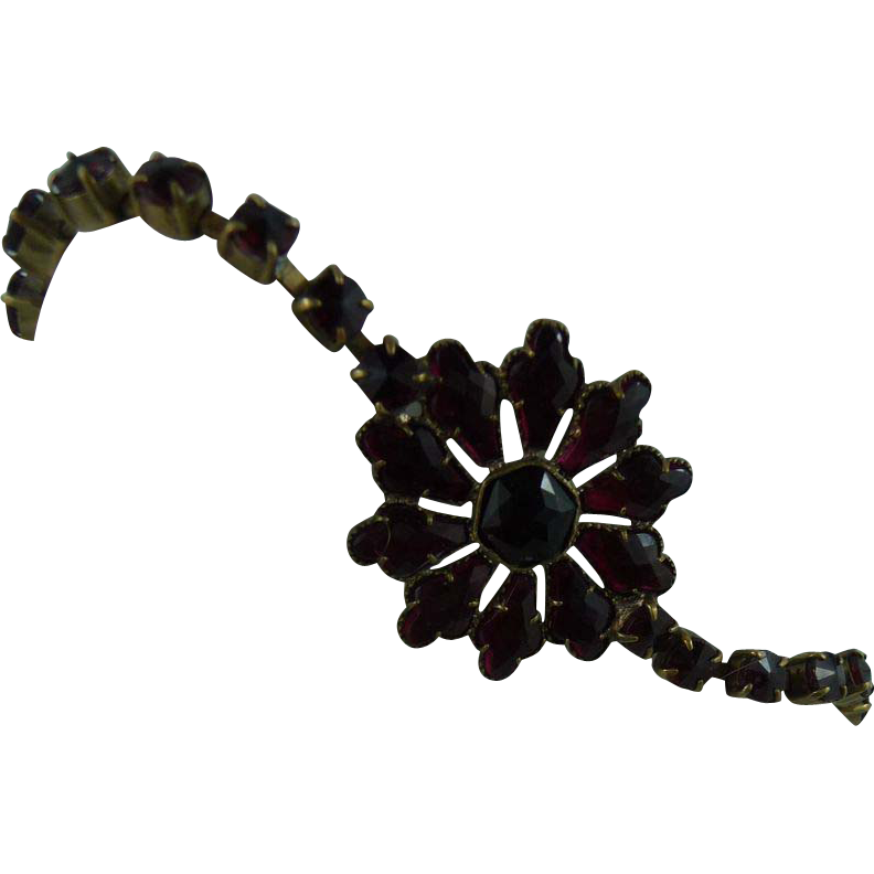 Czech Garnet Glass 1930's Bracelet
