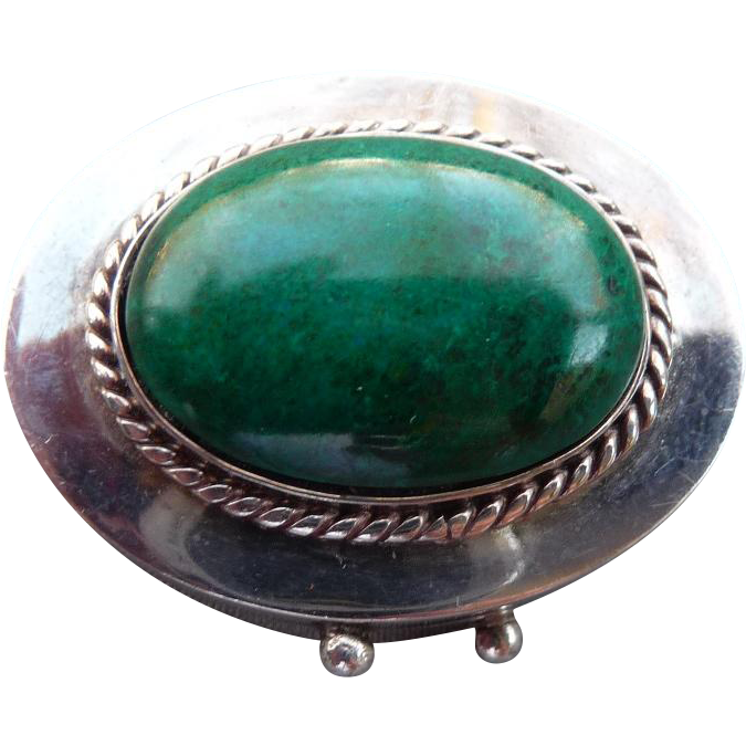 Vintage Silver and Turquoise Pill Container